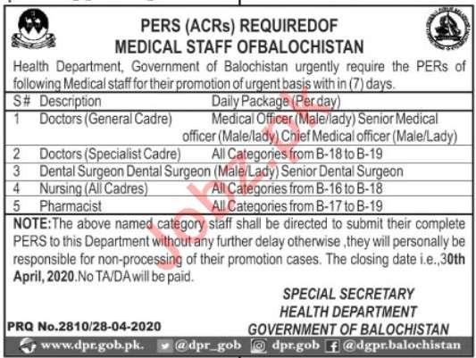 Health Department Balochistan Jobs 2020 For Doctors - Jobs ...
